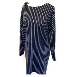 Zara navy with silver stripes dress Small
